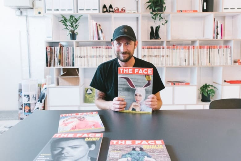 Dan Flowers poses with the Dua Lipa cover of the new The Face magazine shot by Jurgen Teller