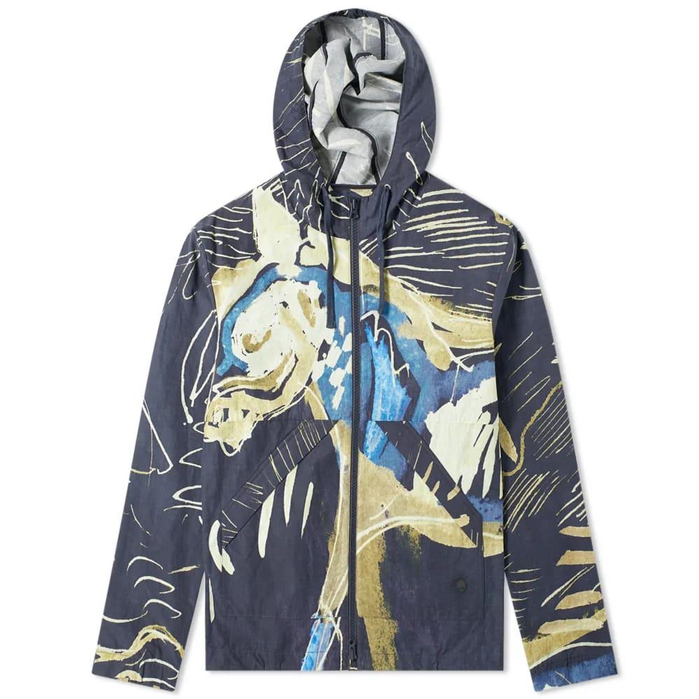 Folk Printed Hooded Windbreaker