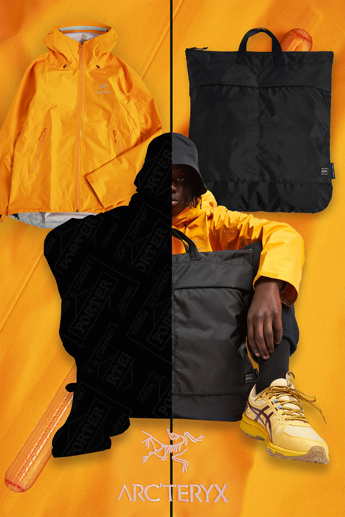 Curated 009 | Tote Bags - Model Wears Comme Des Garcons Homme x Porter Nylon Helmet Bag