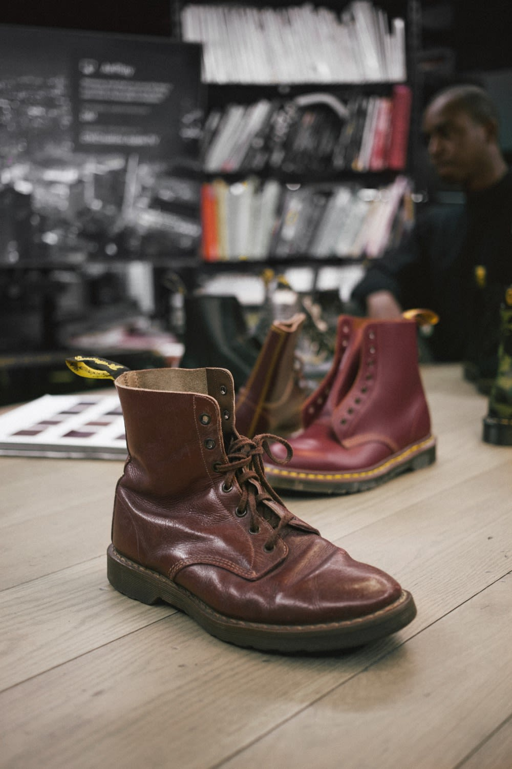 An original Dr. Martens 1460 boot.