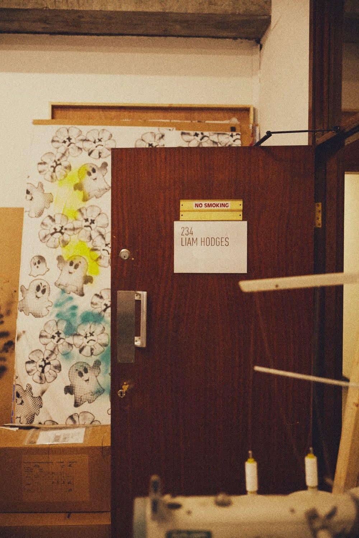 The door to Liam Hodges studio in London