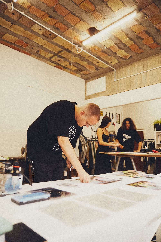 Liam Hodges airbrushing artwork in his London Studio