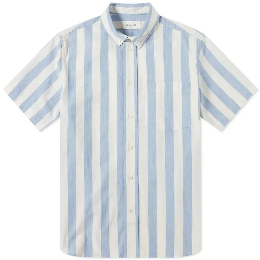 Wood Wood Michael Wide Stripe Button Down Shirt