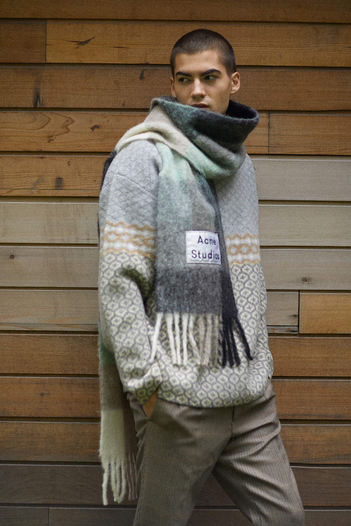 END. AW19 Required Item: Graphic Knitwear - model wears Jil Sander and Acne Studios for END.