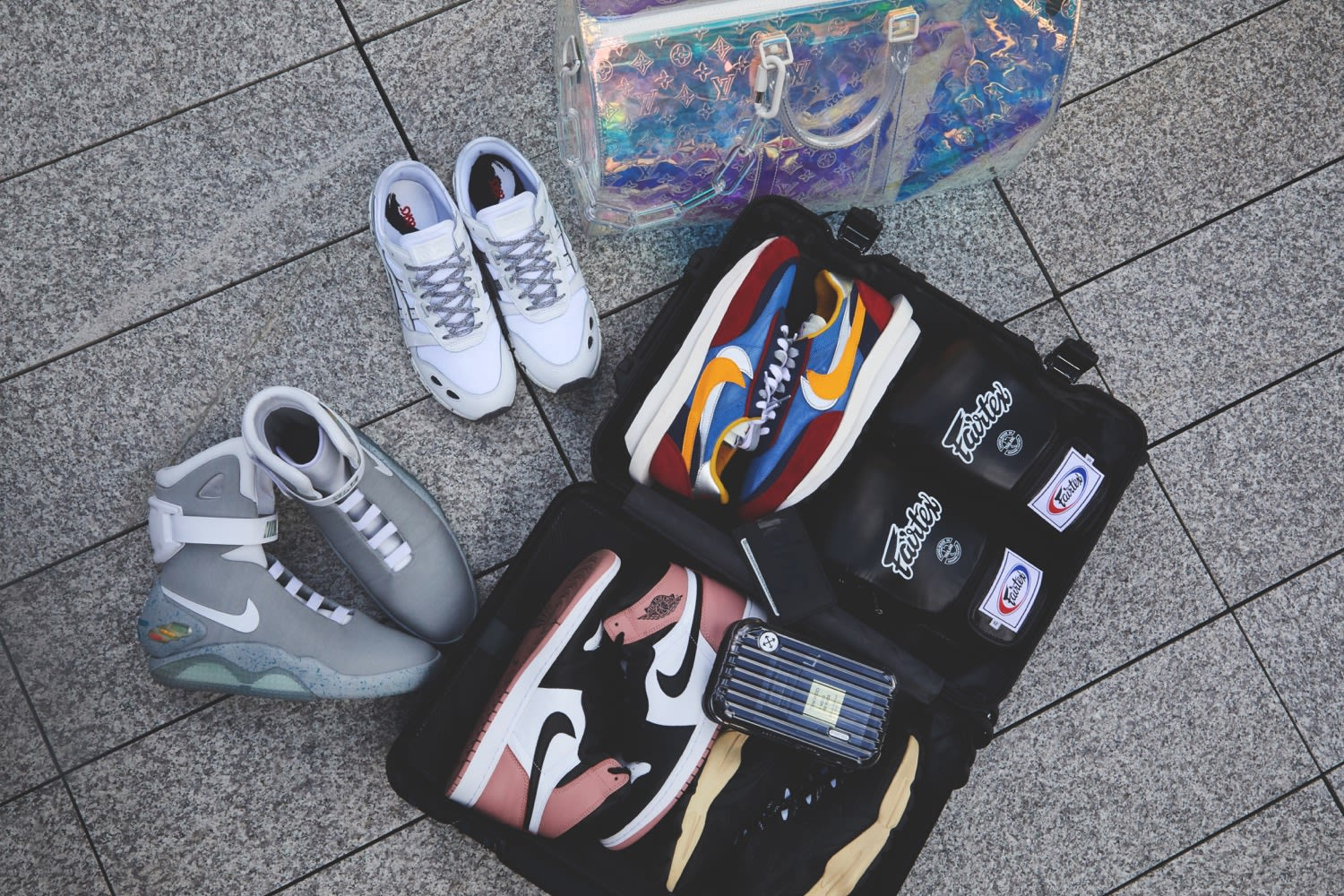 Thierry Tek's Flight Case Sneakers for END. featuring Nike MAGs, Sacai x Nike LDWaffles, Air Jordan 1 'Miami Art Basel' and more