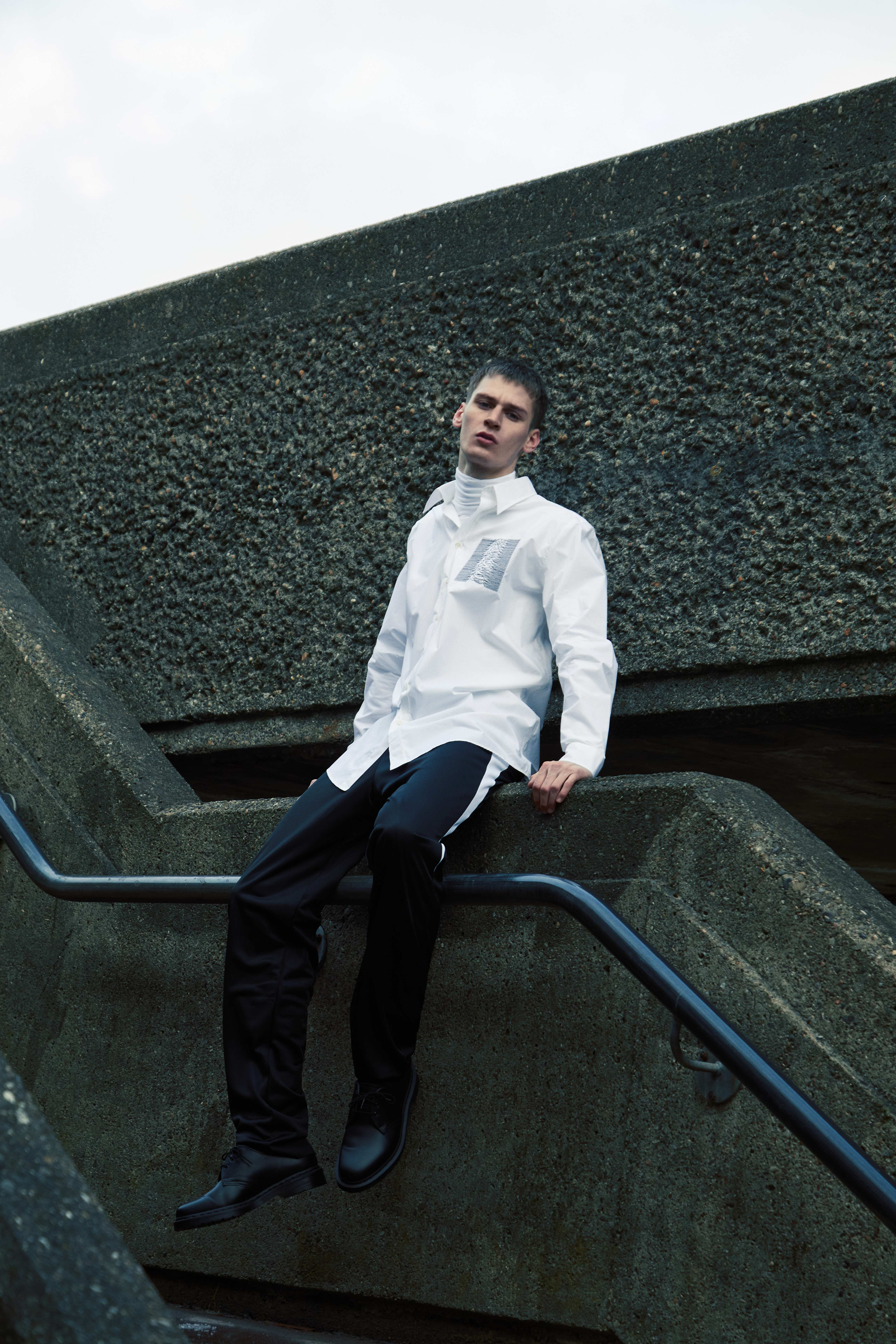 END. Required Item SS21: Track Pants - Model wears Raf Simons Side Stripe Track Pant