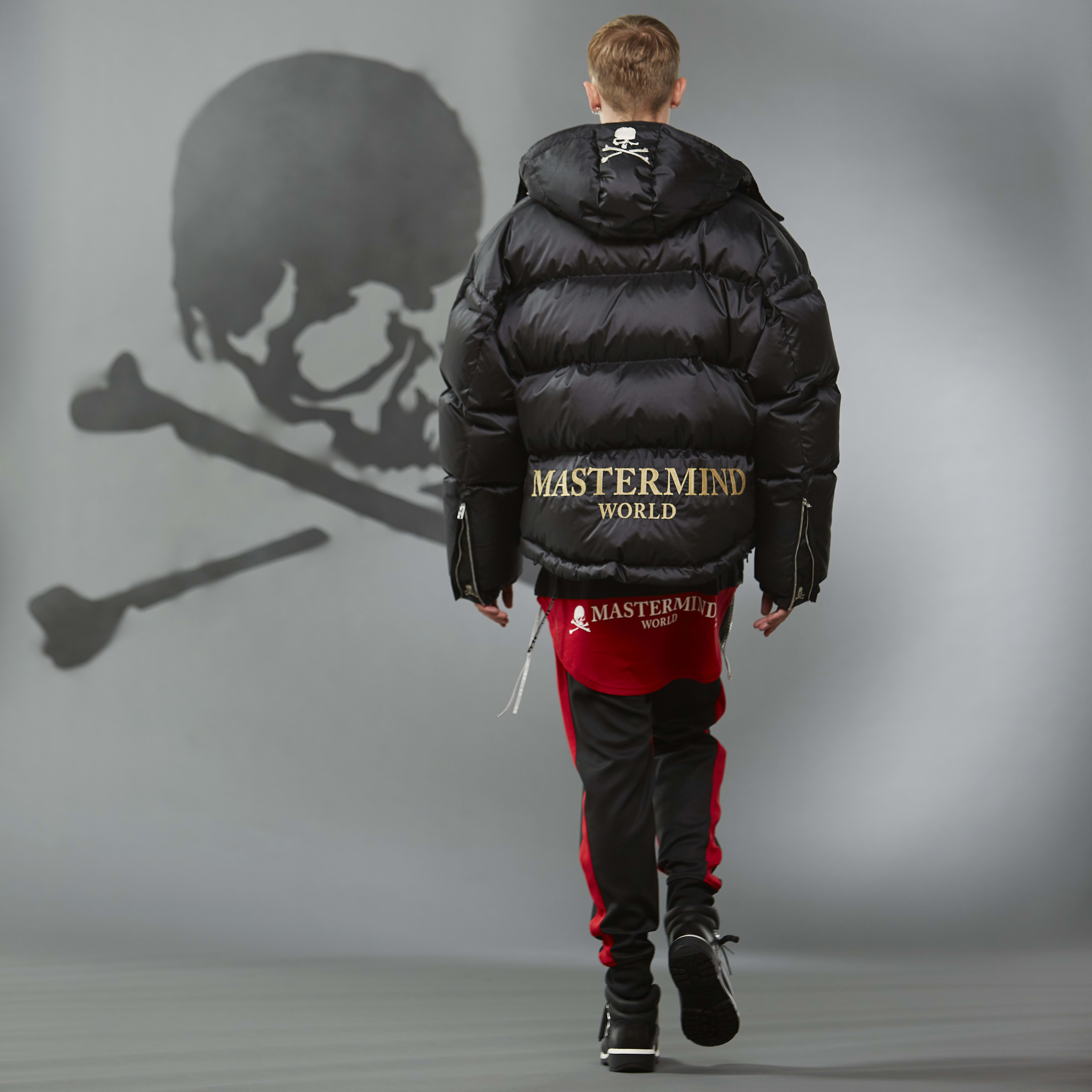 MASTERMIND WORLD FW19 look book presentation with black down jacket