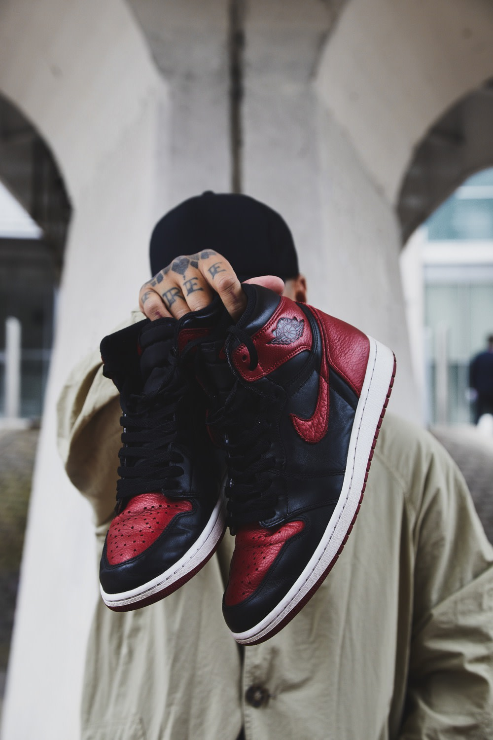 """Ste Wing of Visionarism holding Nike Air Jordan 1 Bred """"Banned"""" 2016 release for END."""