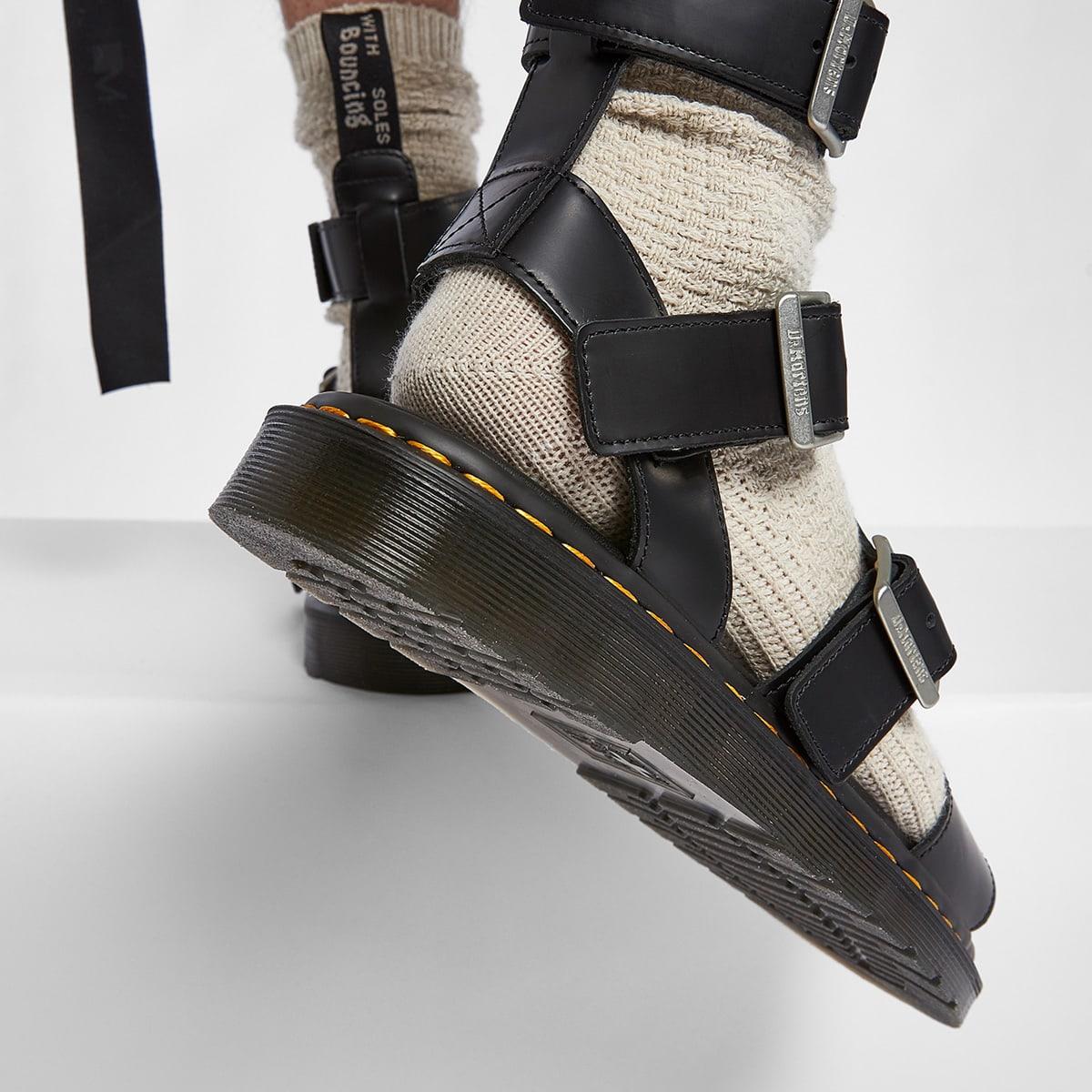 Rick Owens x Dr. Martens Leather Strap Sandals - DM21-S6806-1001-BK