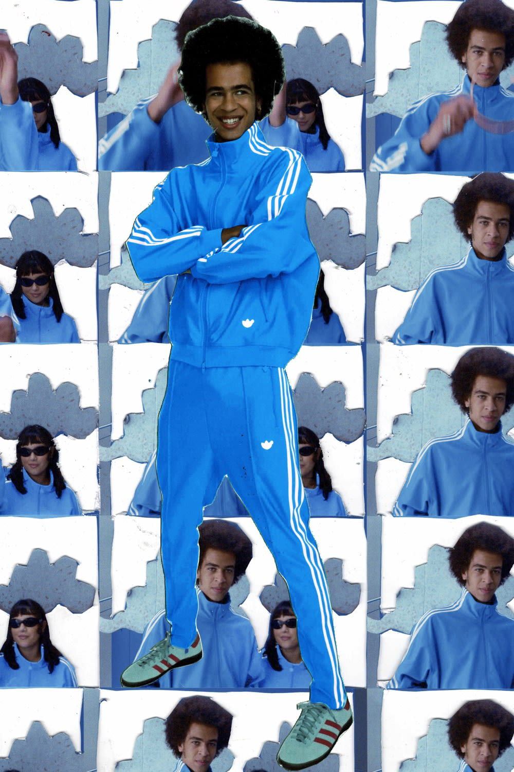 adidas Blue Version look book with Athen Kardashian and Toby Cato for END.