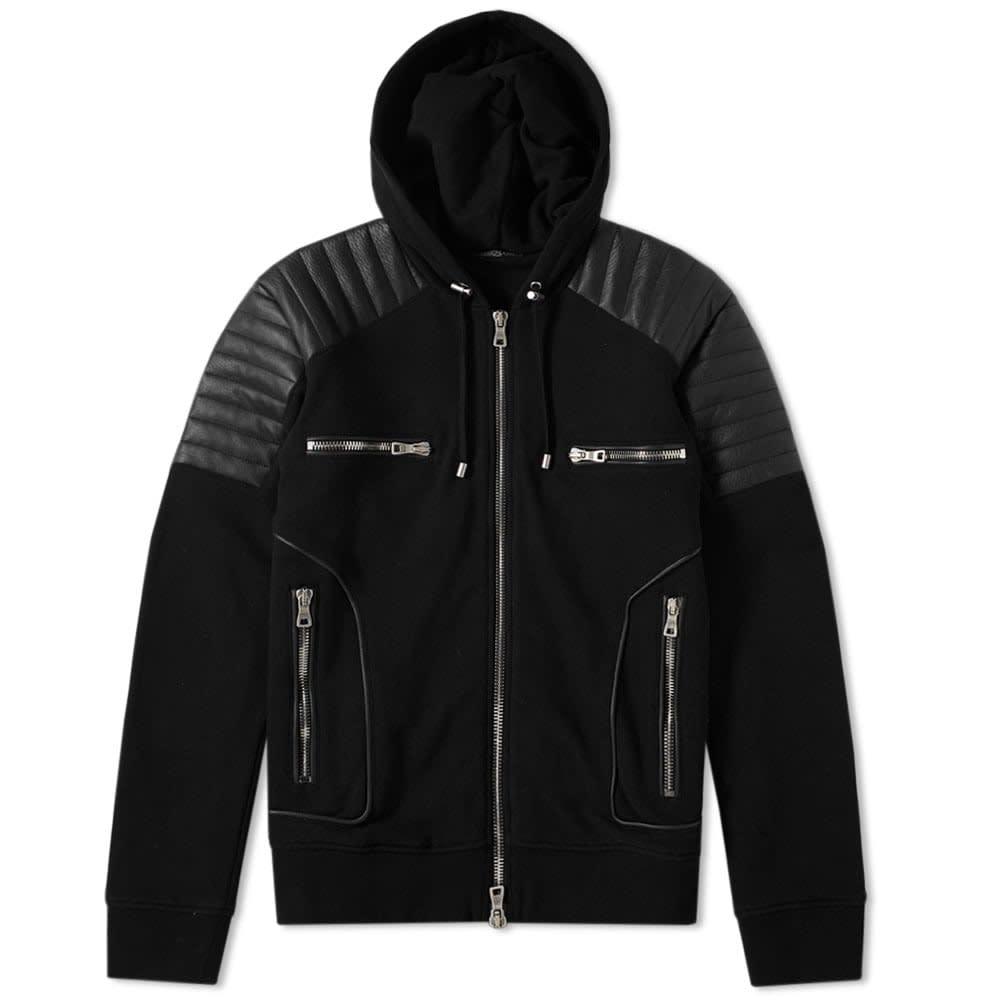 Hooded Leather Crest Jacket