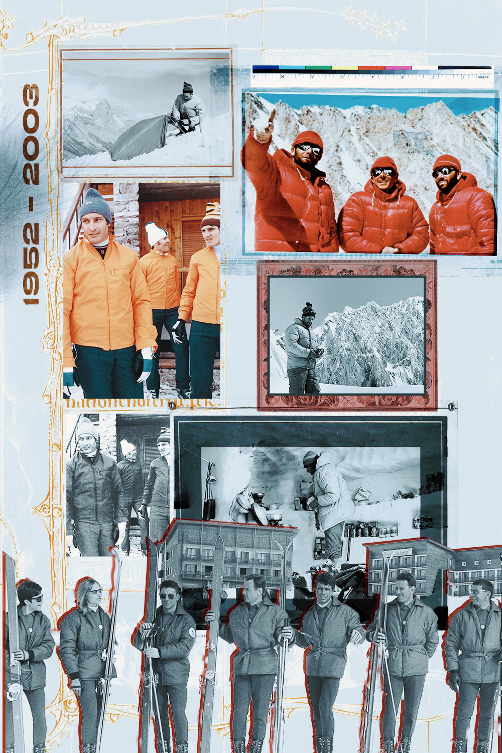 Moncler Eternal with Remo Ruffini - END. Interview image featuring a collage of images documenting Moncler's past.