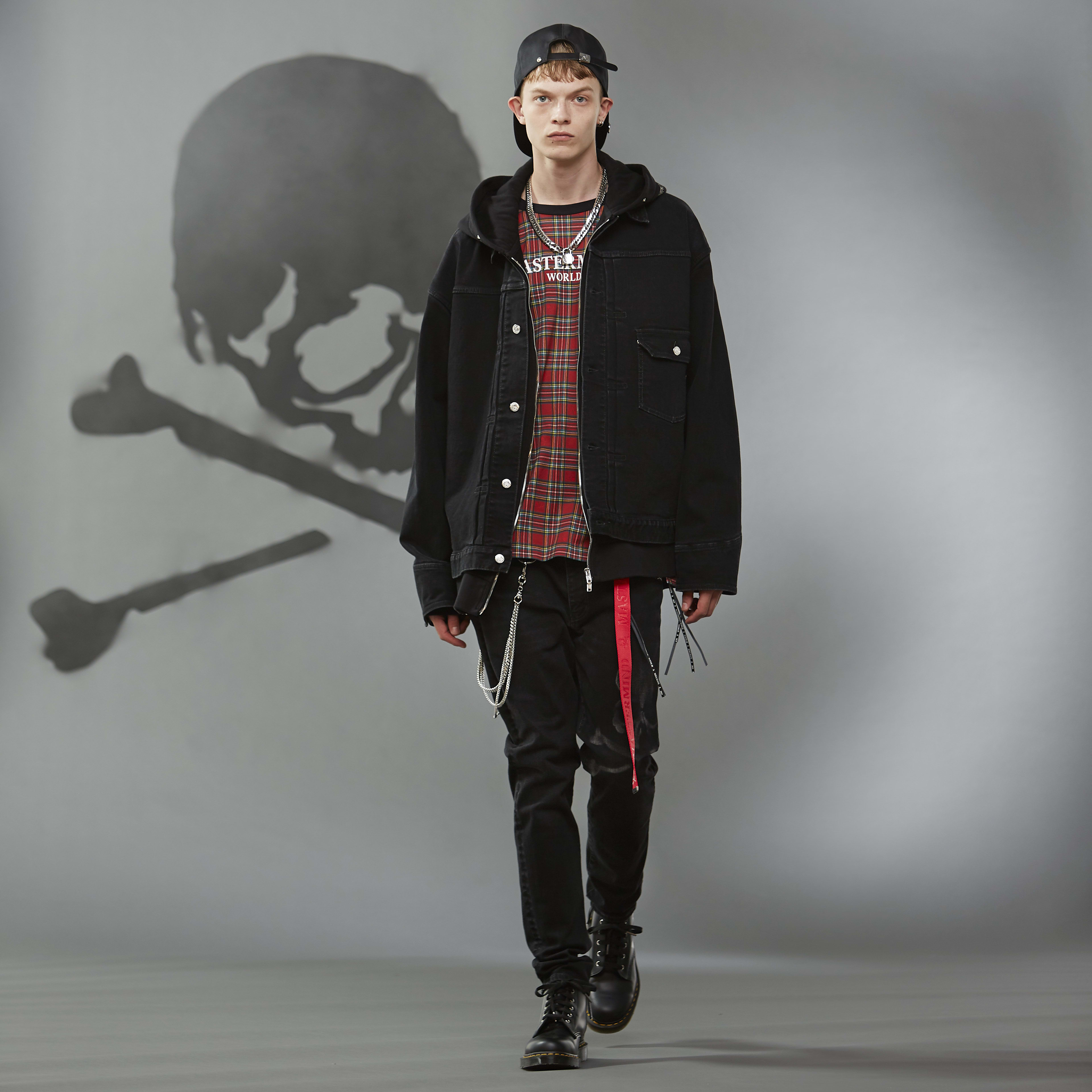 MASTERMIND WORLD FW19 look book presentation with black oversized denim jacket and cap