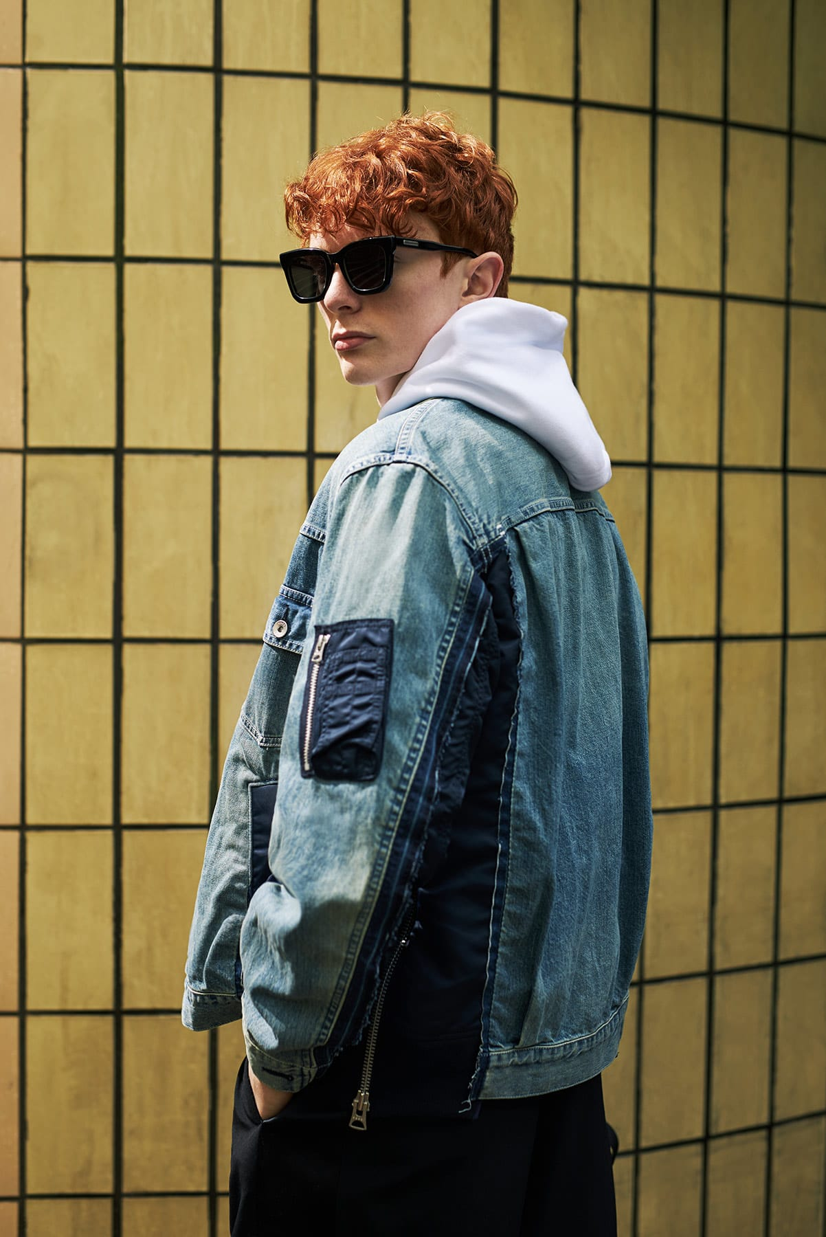 Sacai Denim MA-1 Bomber jacket for END. editorial