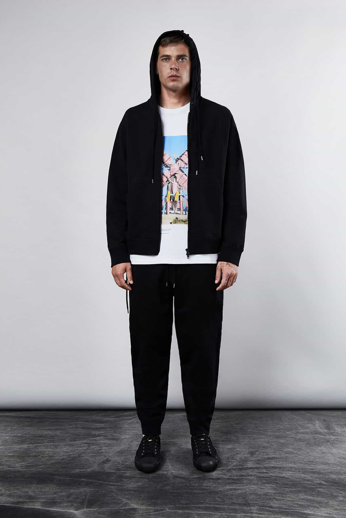 END. Craig Green Core AW19 - Model wears campaign tee and lace-up sweat pants