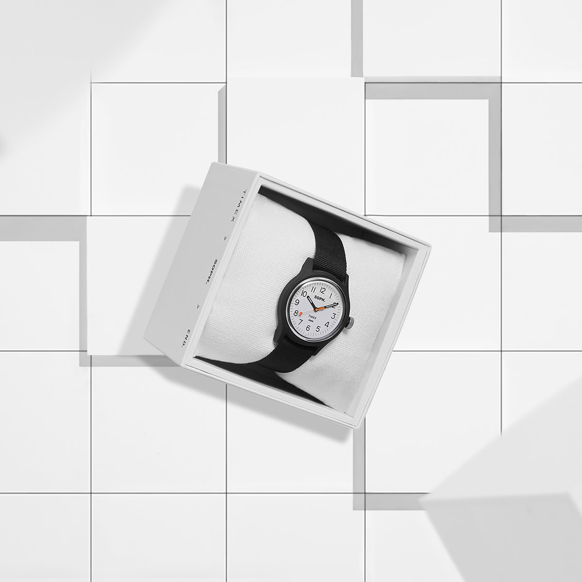 The END. x SOPH. x Timex MK1 watch in white.