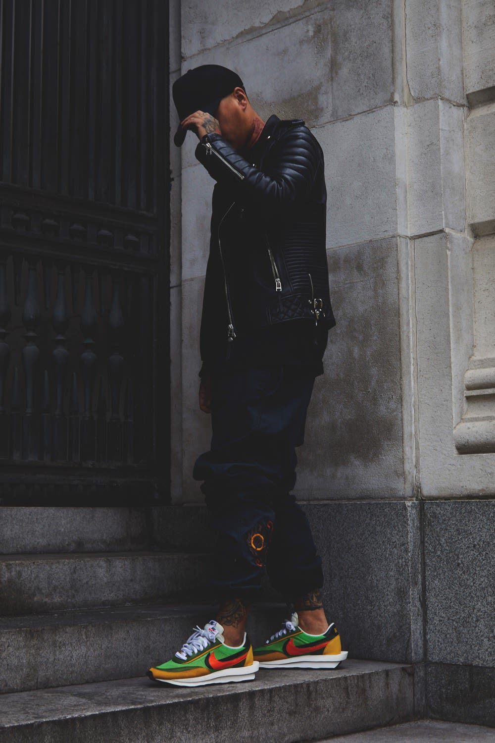 Ste Wing of Visionarism wearing Nike x Sacai LDWaffle Green/Multi and Maharishi pants for END.