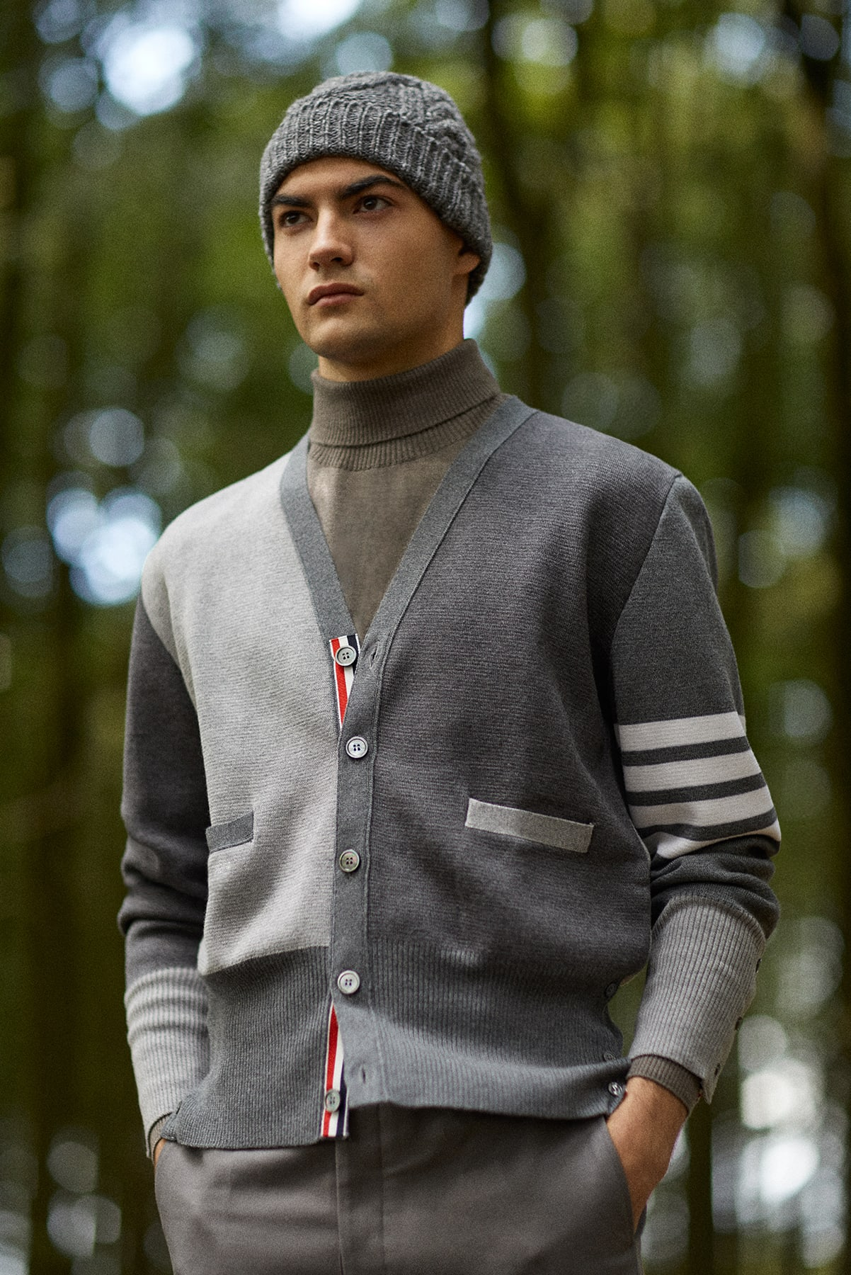 END. AW19 Required Item: Graphic Knitwear - model wears Thom Browne for END.