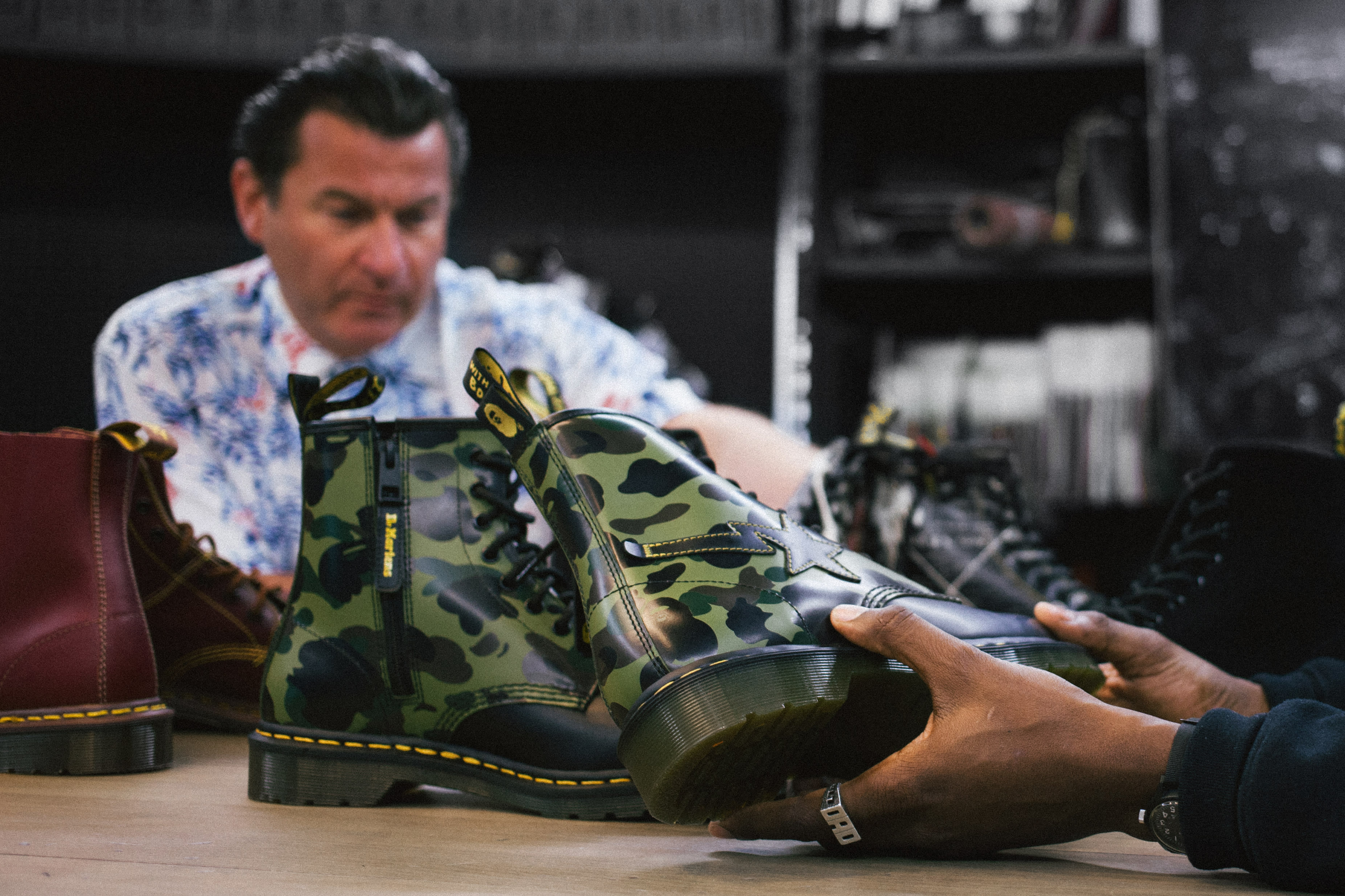 The Dr. Martens x A Bathing Ape 1460 Boot for the 1460 Remastered Collection.