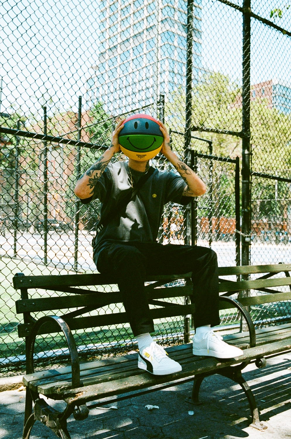 Mike Cherman holding Puma x Chinatown Market basketball in Manhattan