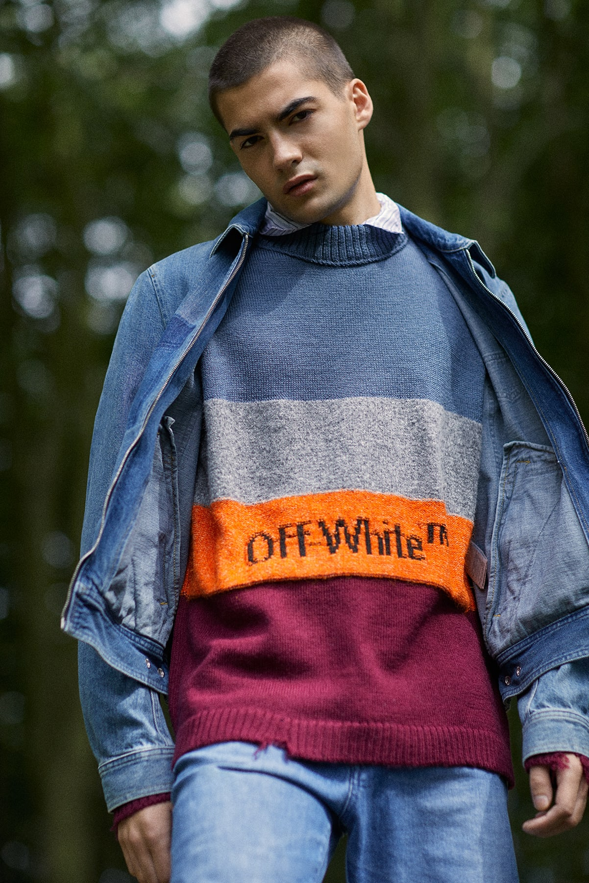 END. AW19 Required Item: Graphic Knitwear - model wears Off-White for END.