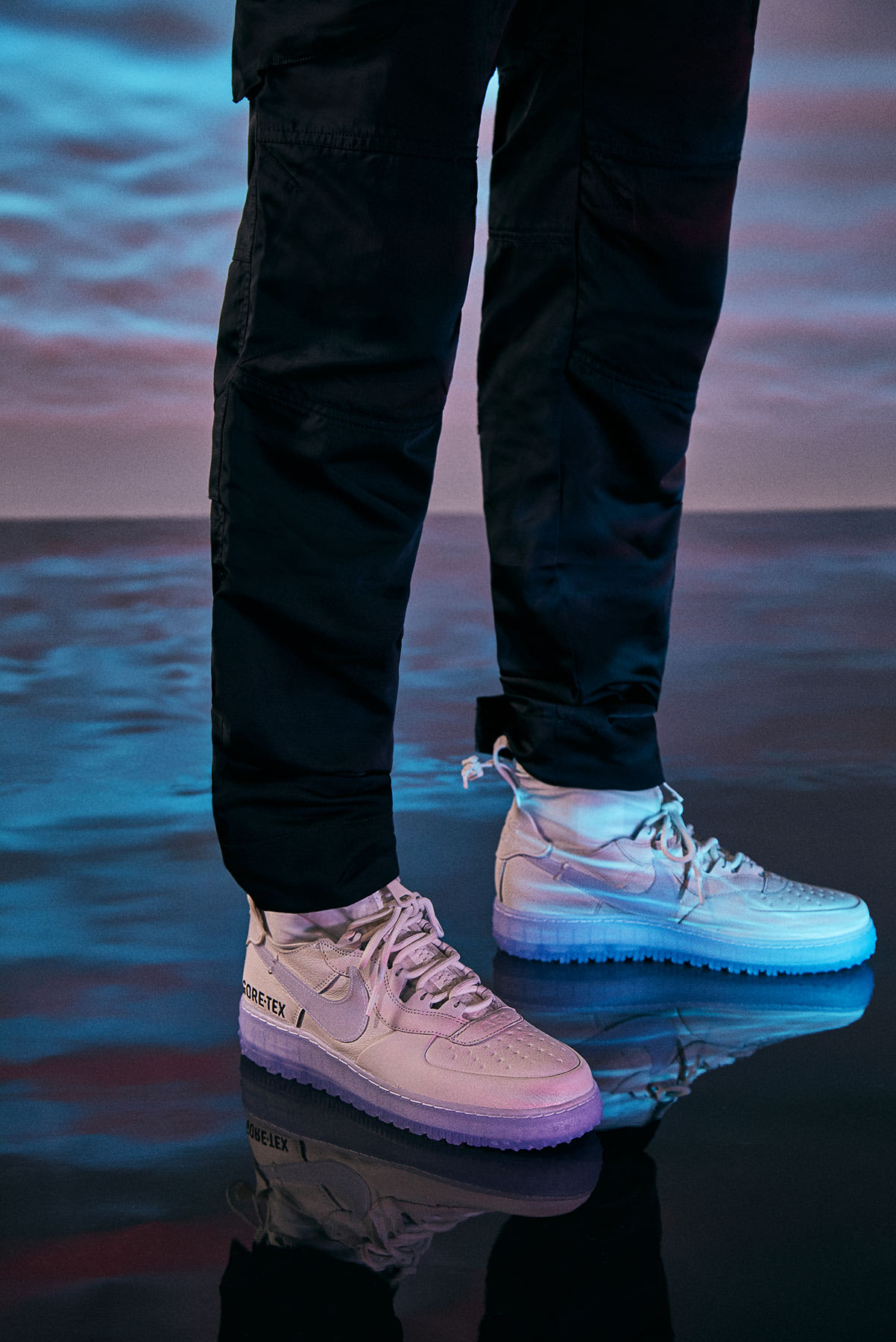 J Rick modelling the Nike Air Force 1 WTR GTX sneaker in Alyx