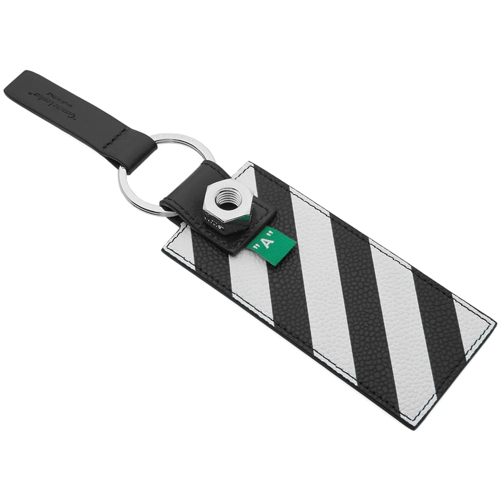 Off-White Leather Diagonals Key Holder