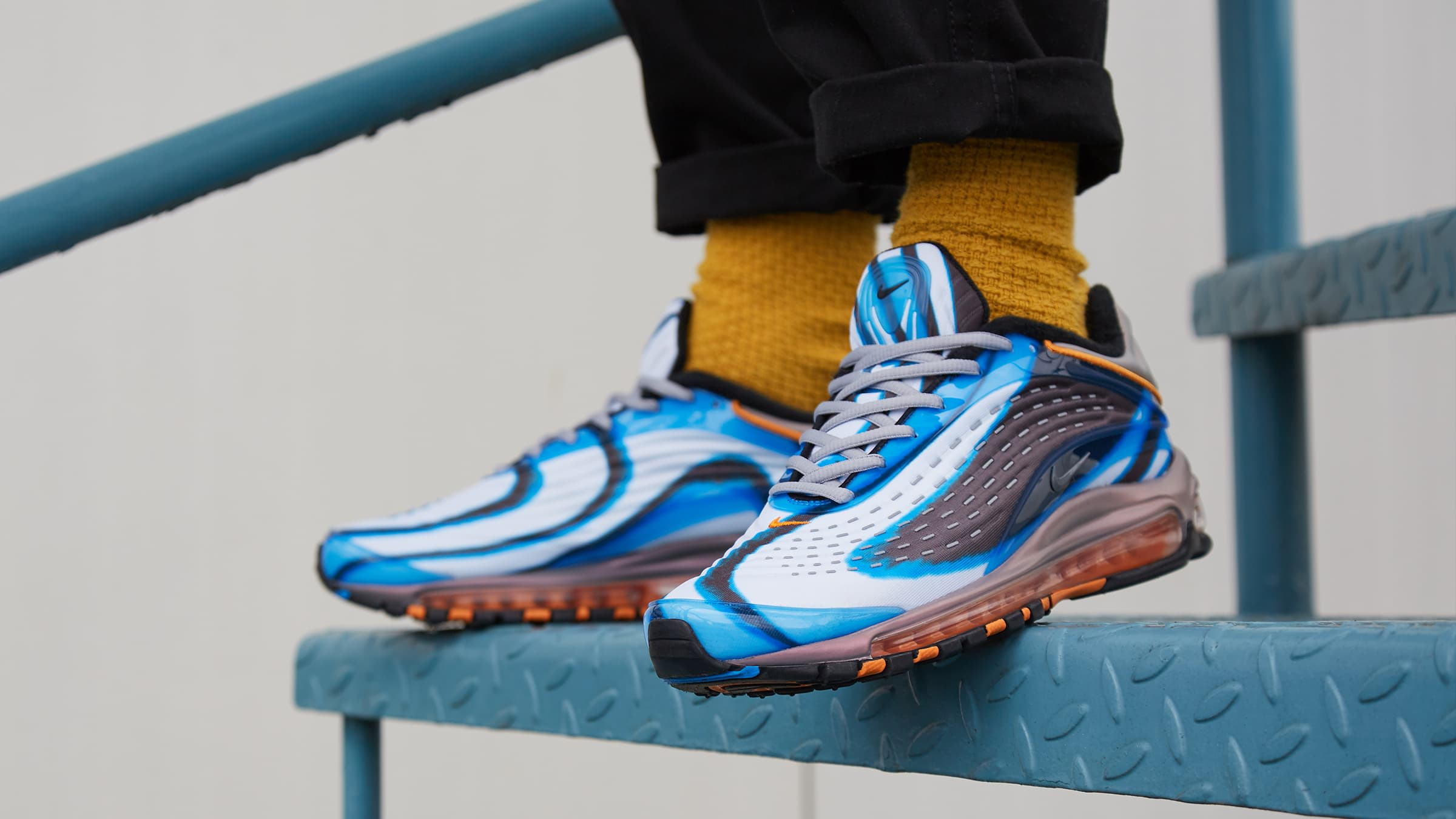 2018 Nike Air Max Deluxe Photo BlueWolf Grey Orange Peel