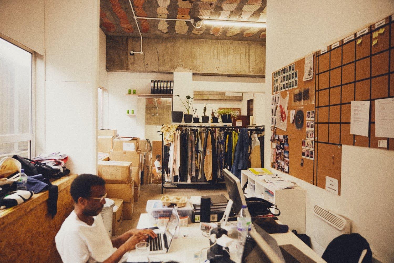 Wide angled shot of Liam Hodges design studio in London