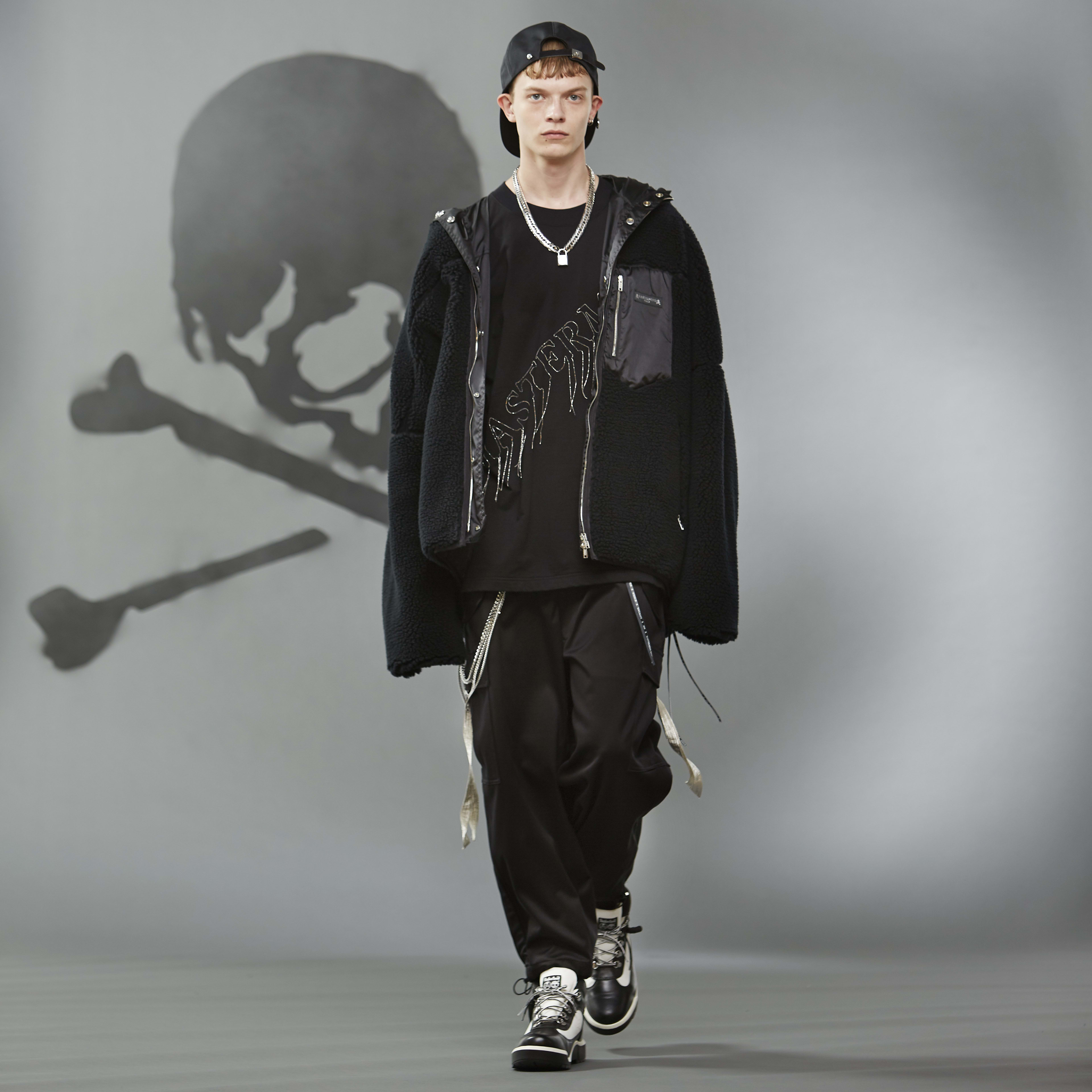 MASTERMIND WORLD FW19 look book presentation with black oversized fleece jacket and cap