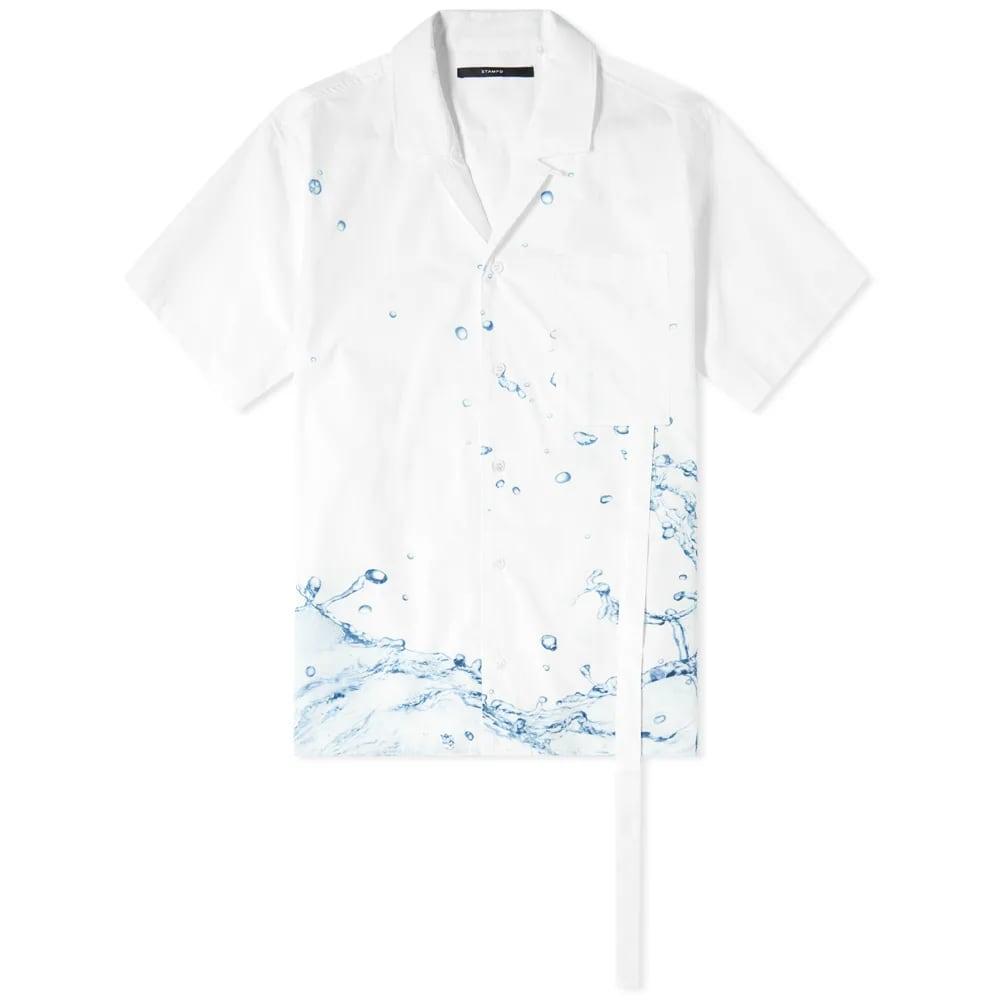STAMPD Button Down Printed Camp Collar Shirt