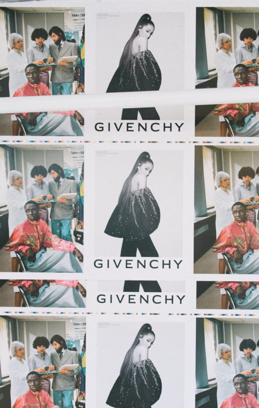 Print tests of Ariana Grande for Givenchy and Gucci ad spreads for The Face Magazine relaunch issue