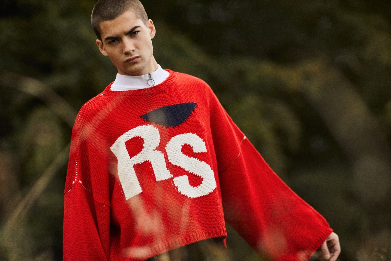 END. AW19 Required Item: Graphic Knitwear - model wears Raf Simons for END.