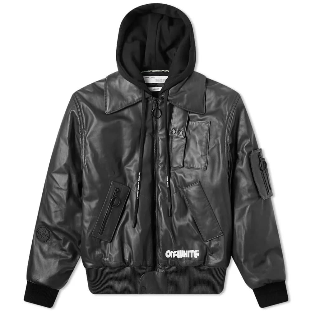 Off-White Skull Hooded Leather Jacket