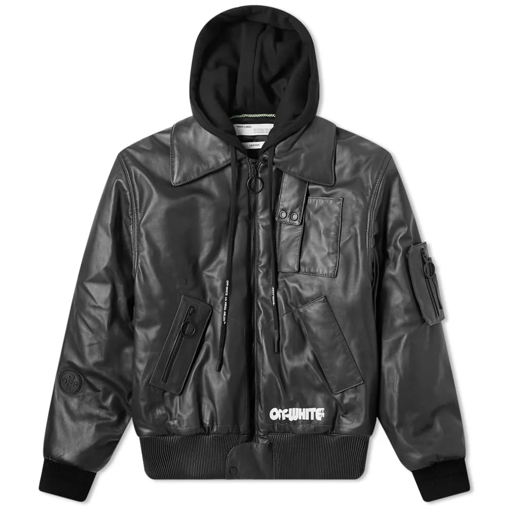 Off-White Skull Hooded Leather Jacket