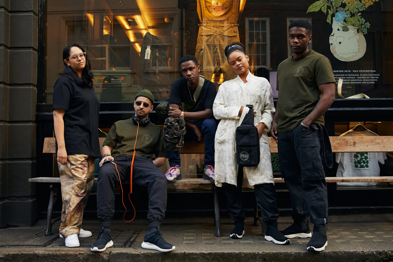 Hyperdub crew outside Maharishi's Soho store for END.