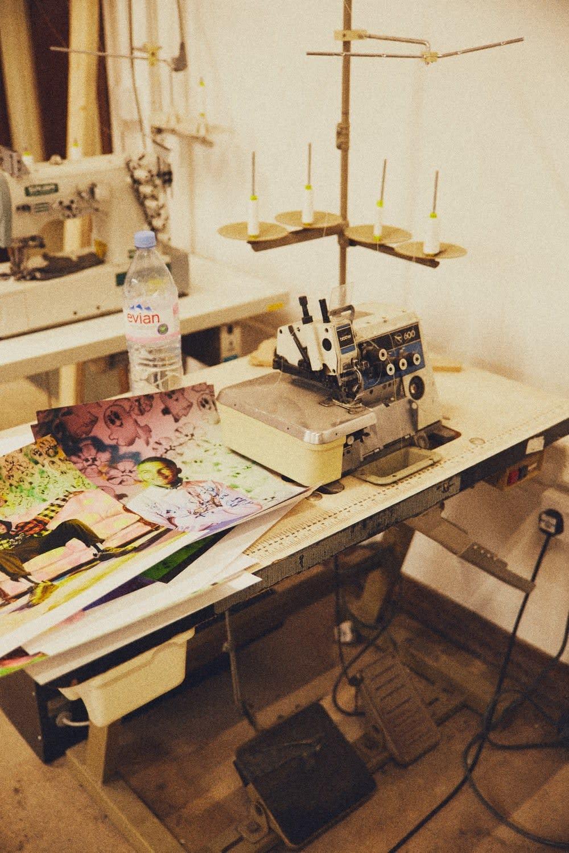 A sewing machine in Liam Hodges studio
