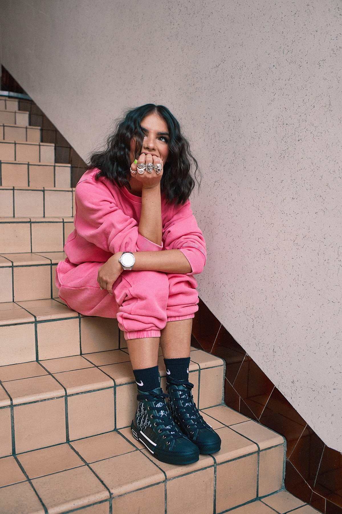 La La wearing STUSSY Stock Logo Tracksuit DIOR B23 High-Top Oblique Sneakers for END.