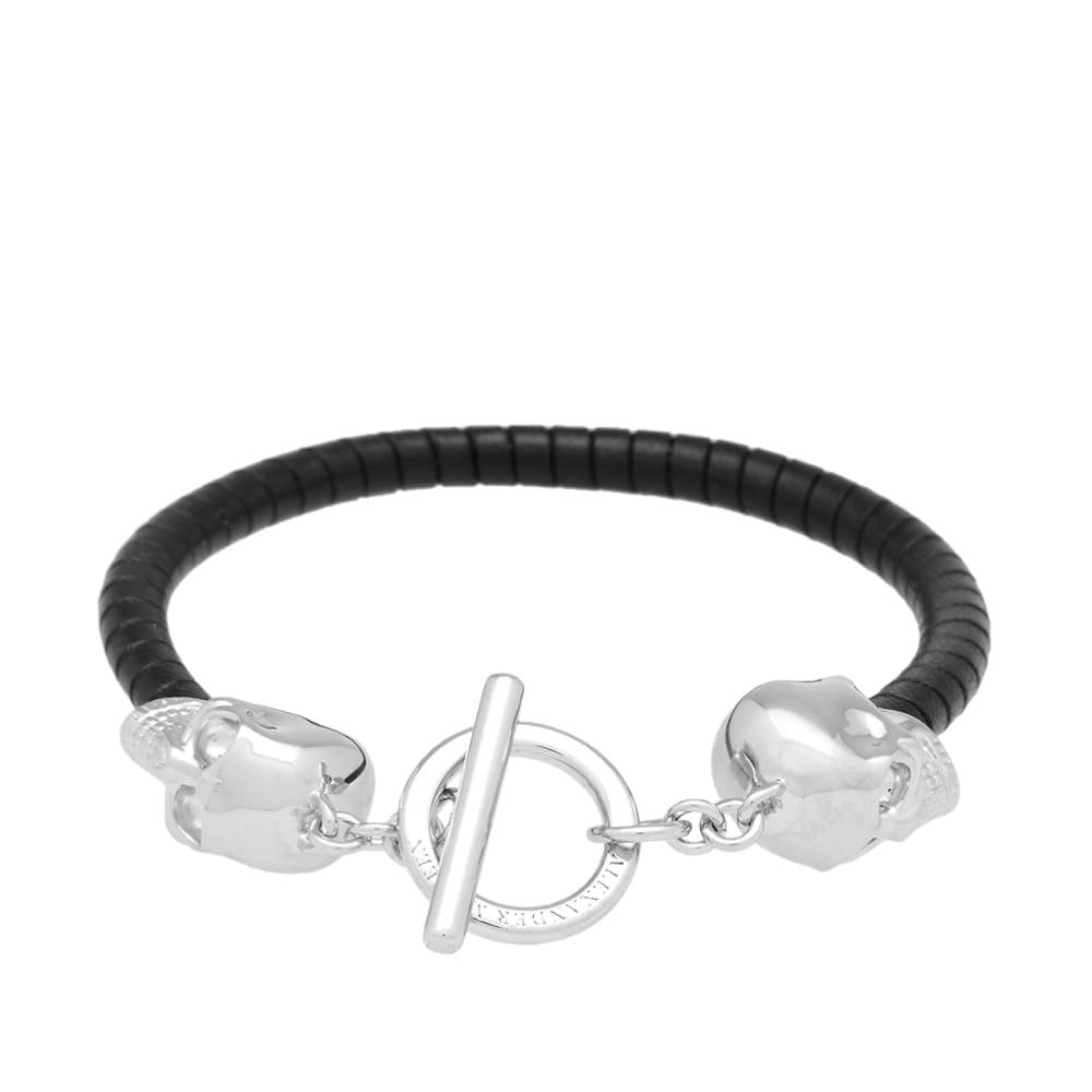 Alexander McQueen Silver Skulls Leather Bracelet