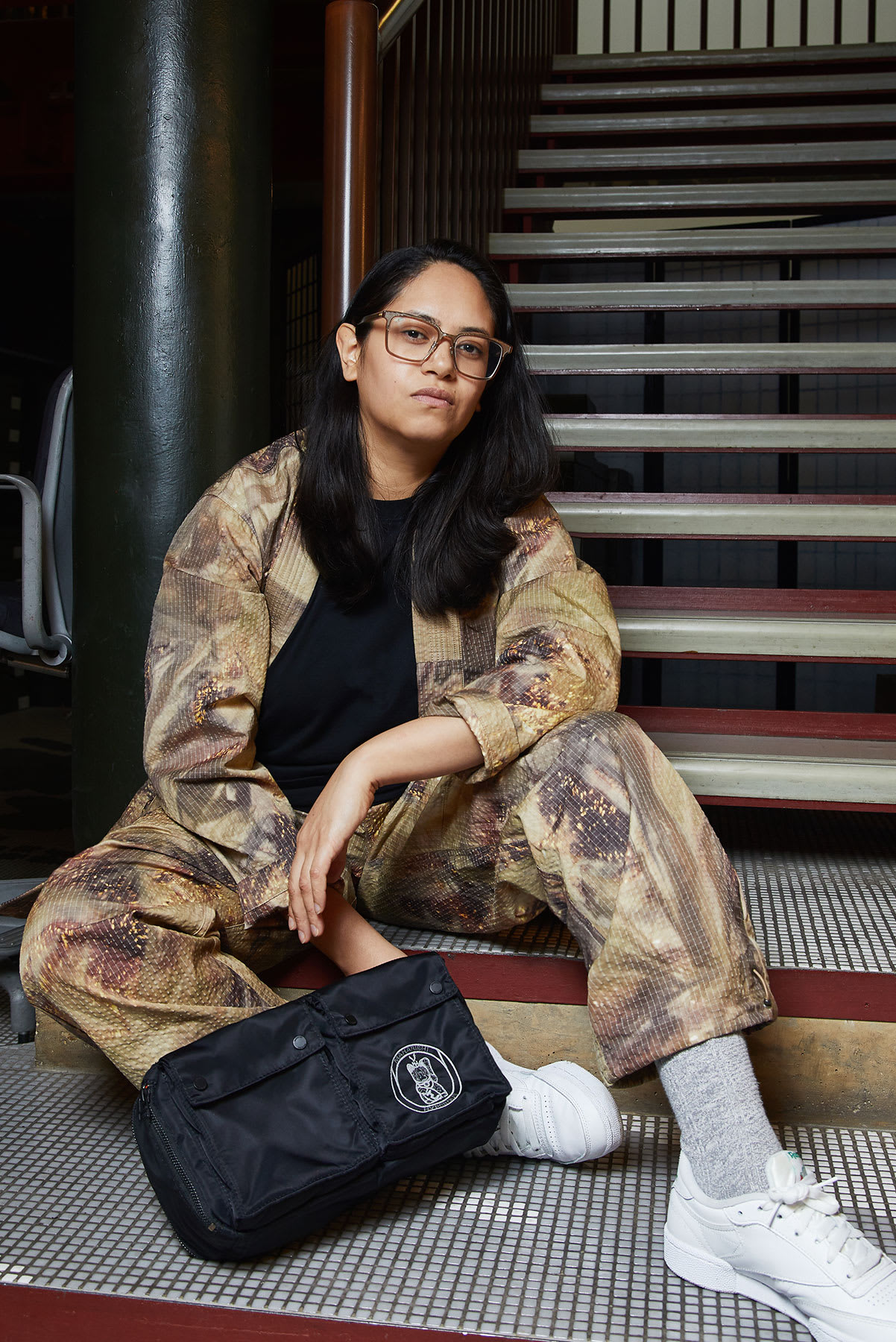 Ikonika wearing the Maharishi x Hyperdub x AIAIAI collaboration for END.