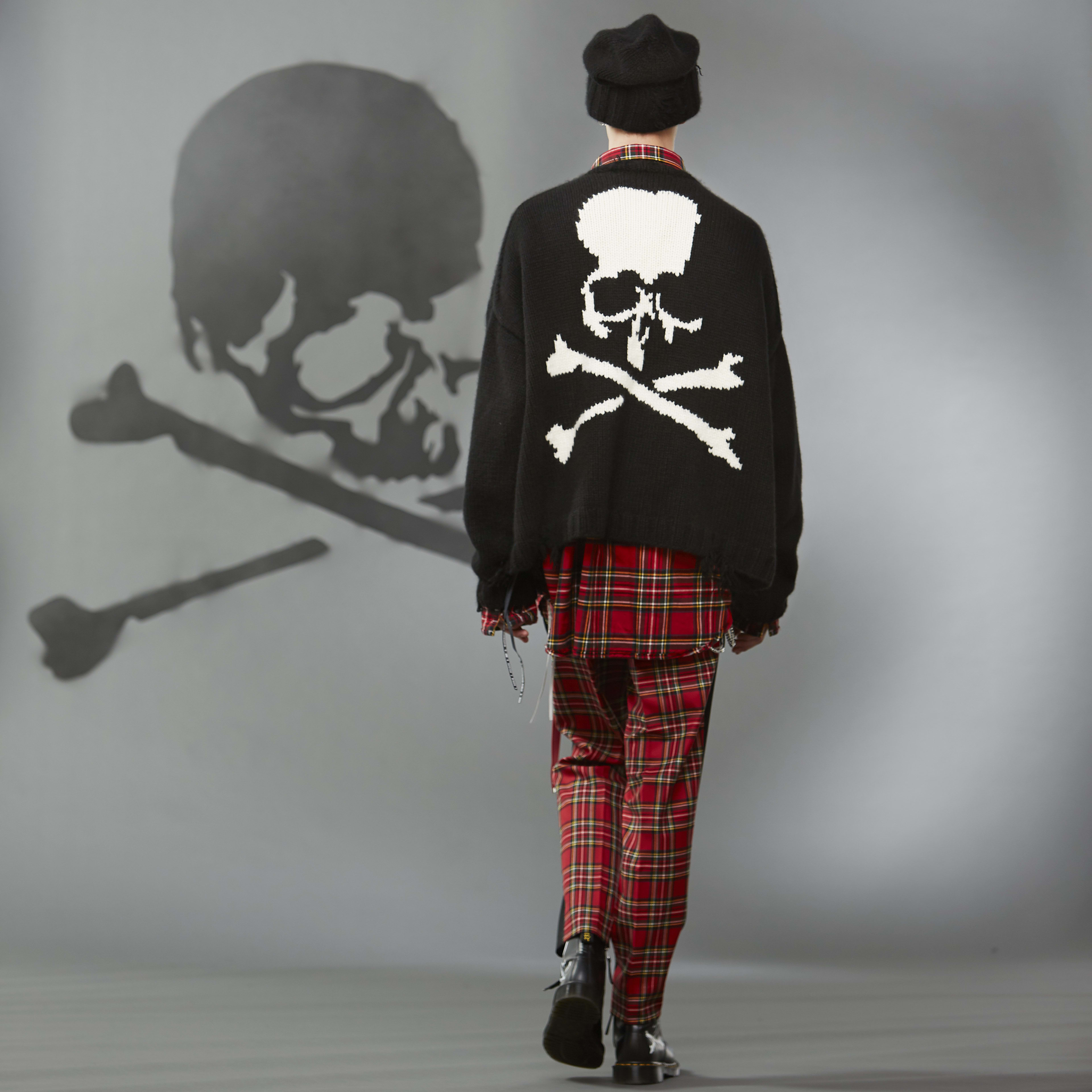 MASTERMIND WORLD FW19 look book presentation with tartan trousers