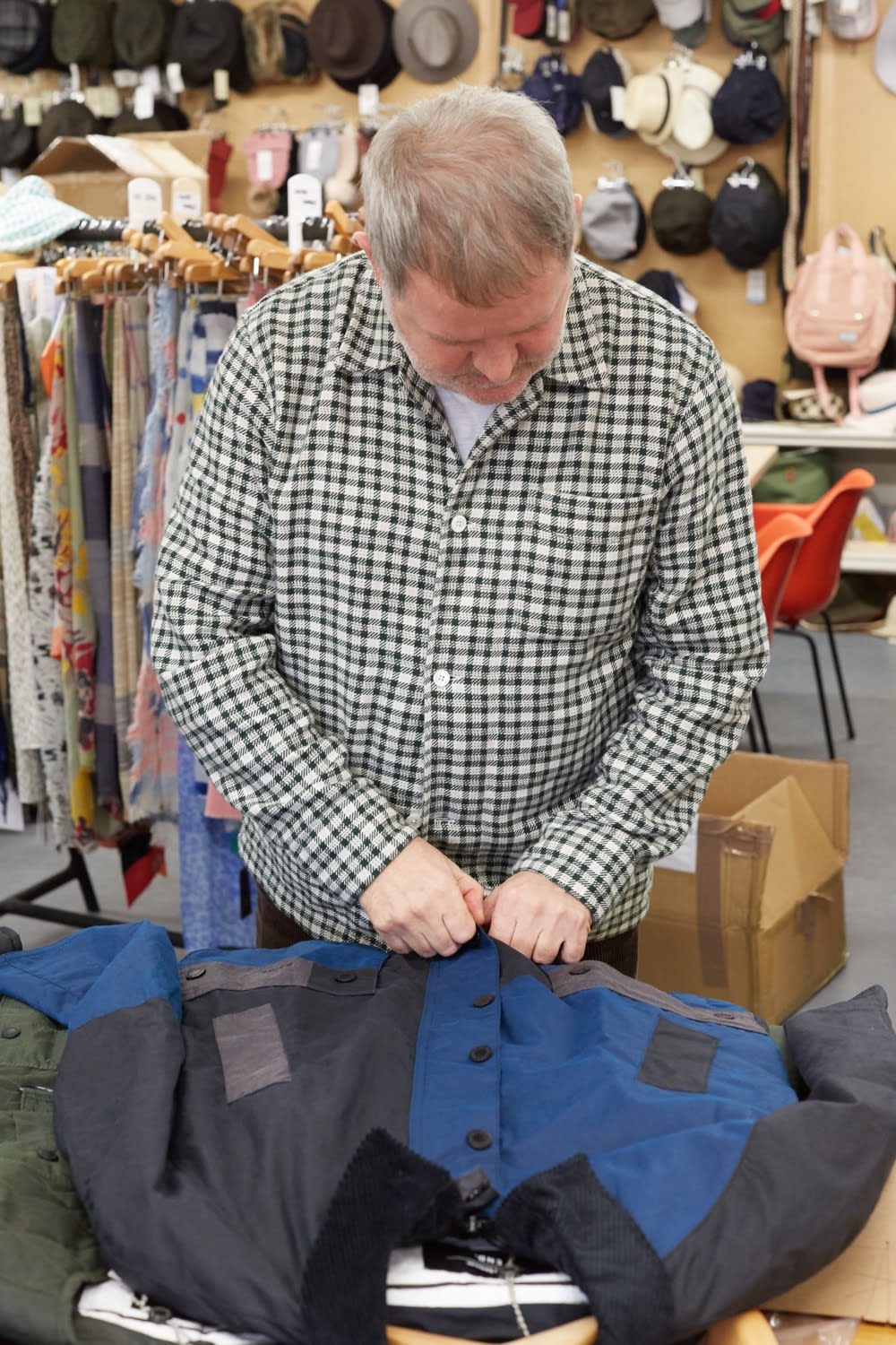 Barbour's Gary Janes inspecting the END. x Barbour Re-Engineered Ashby wax jacket
