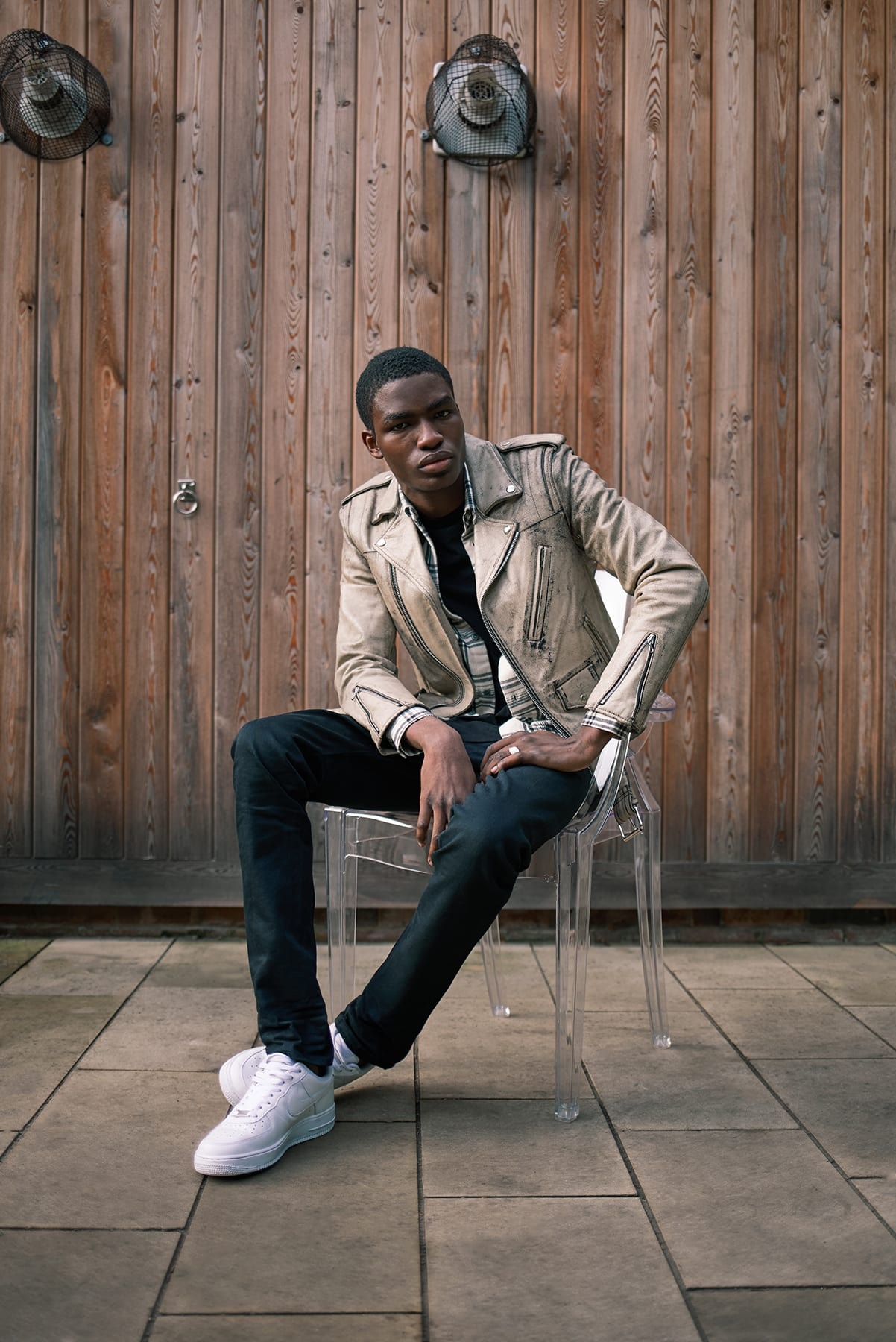 John Elliott x Blackmeans leather riders jacket and the Cast 2 jean for AW19 at END.