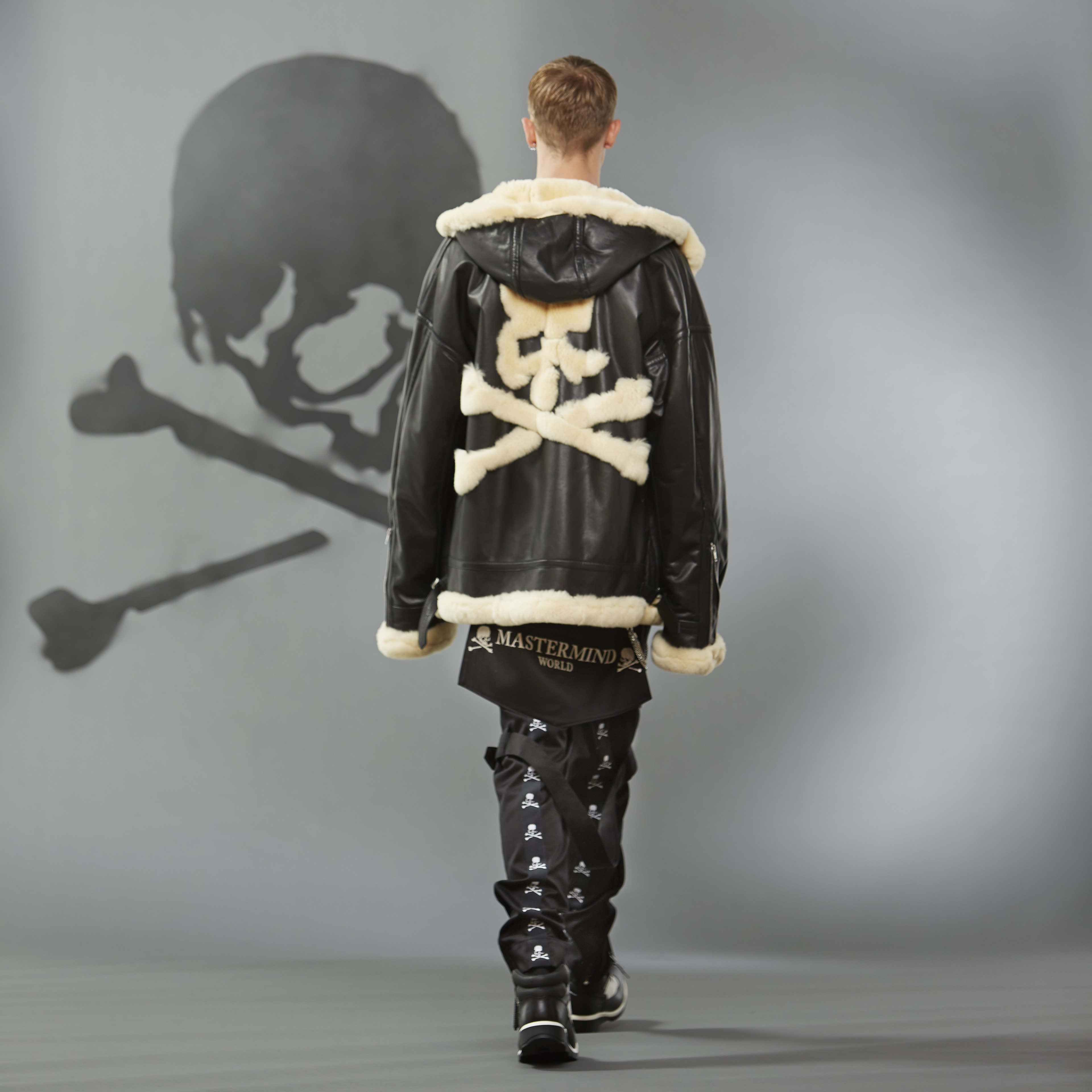 MASTERMIND WORLD FW19 look book presentation with oversized shearling coat and large skull motif to reverse