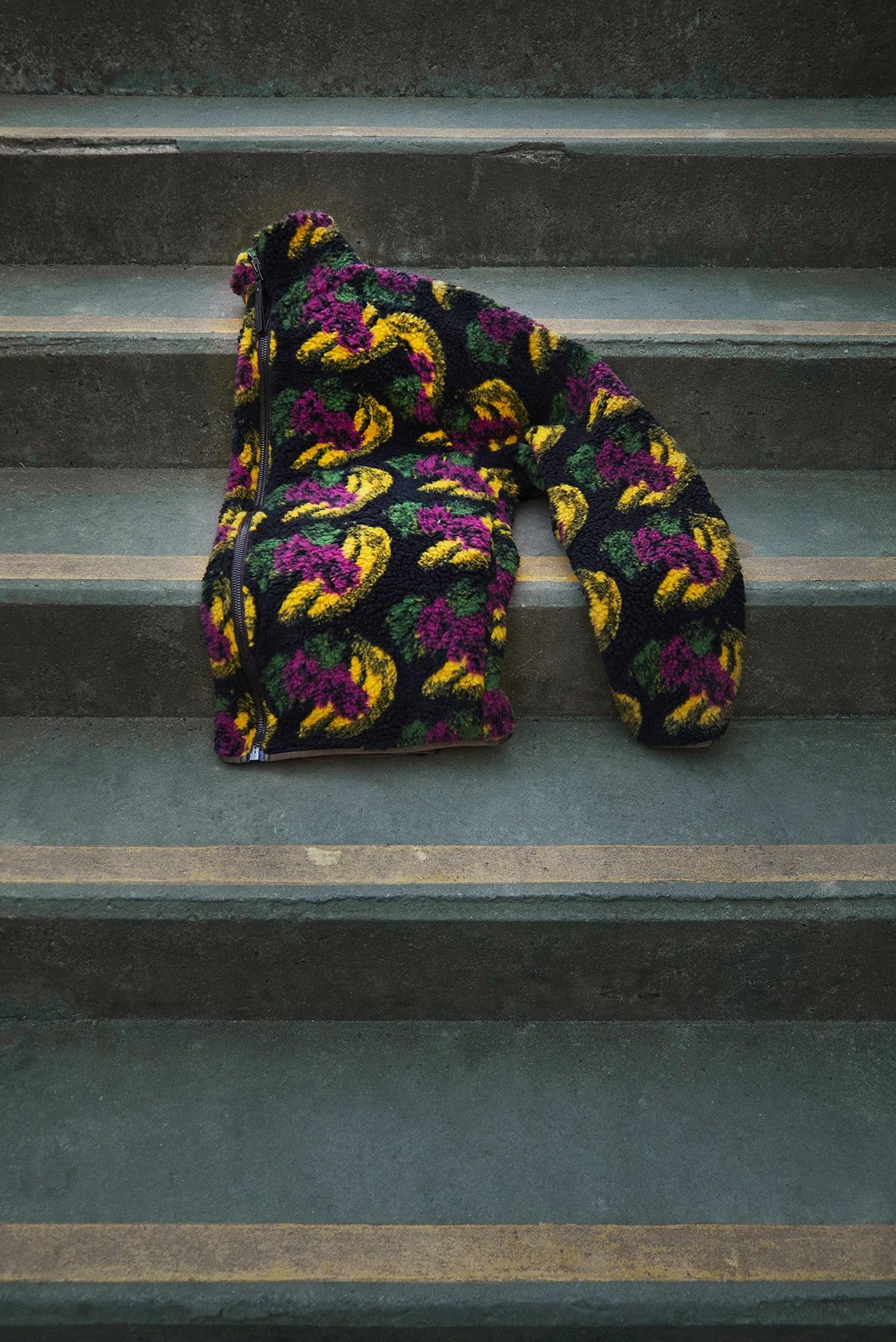 END. Required Item: Sherpa Fleece SS20: Model Wears Acne Studios Fruit Fuzz Sherpa Fleece Jacket