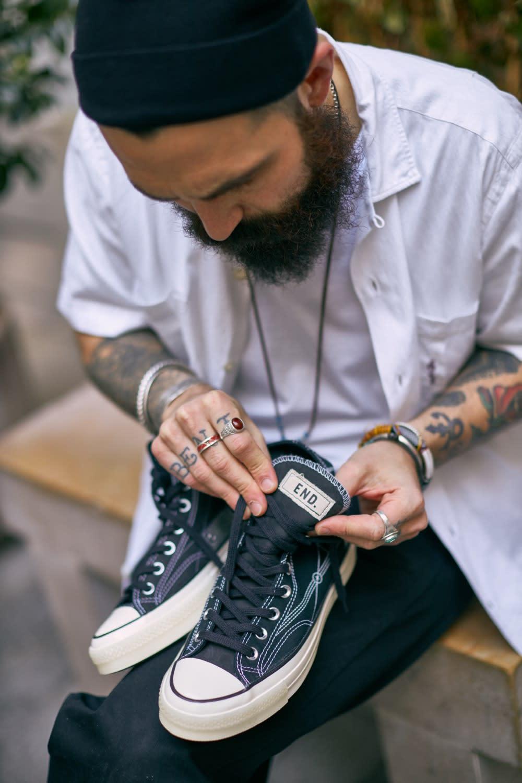 Matt Sleep taking a closer look at the END. x Converse Chuck 70 Hi 'Blueprint' sneaker
