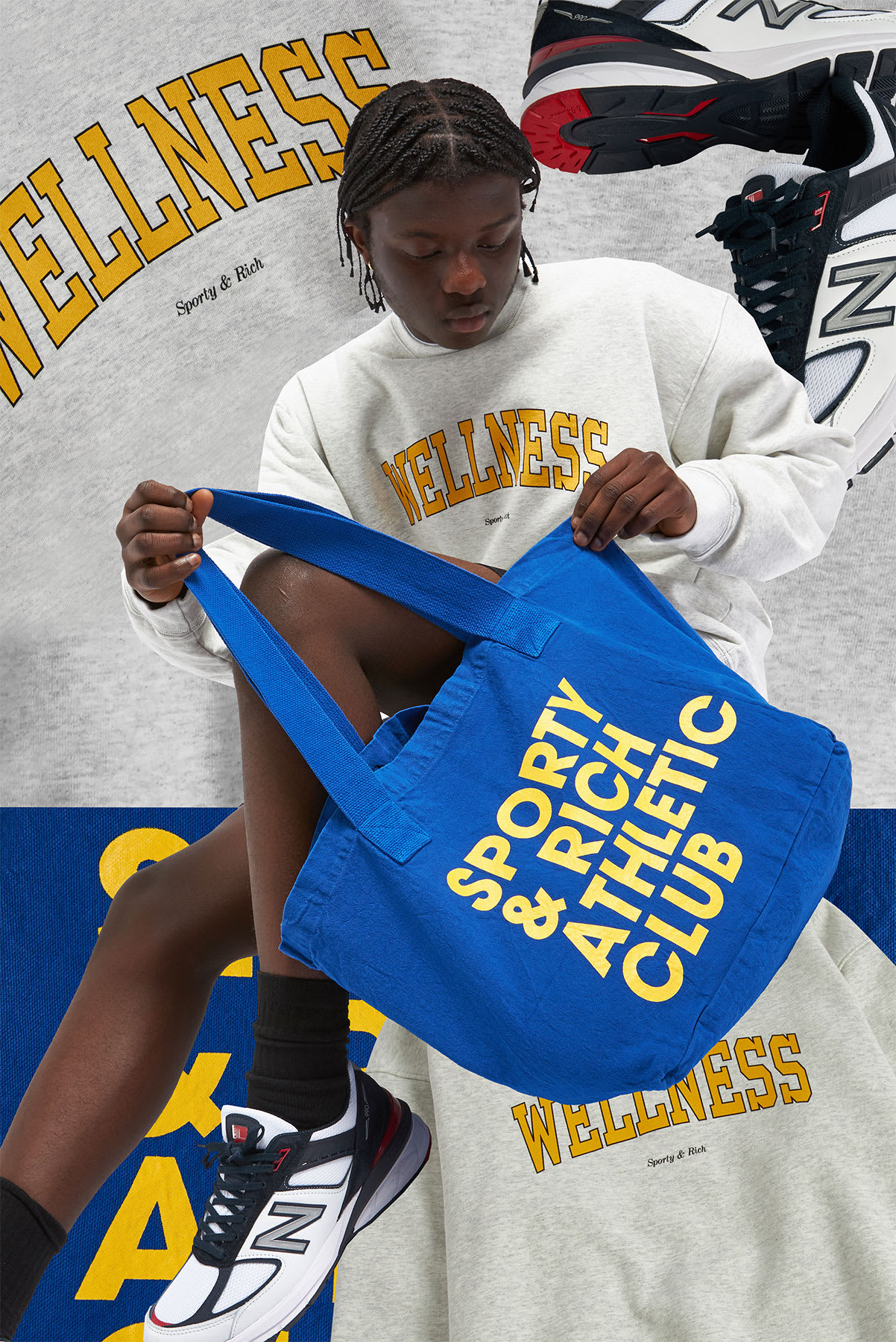 Curated 009 | Tote Bags - Model wears Sporty & Rich Exercise Often Tote Bag