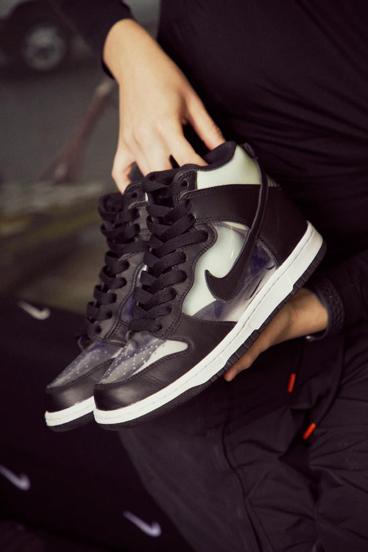 Mini Swoosh Flight Case Sneakers Nike Dunk High x Comme Des Garcons Clear