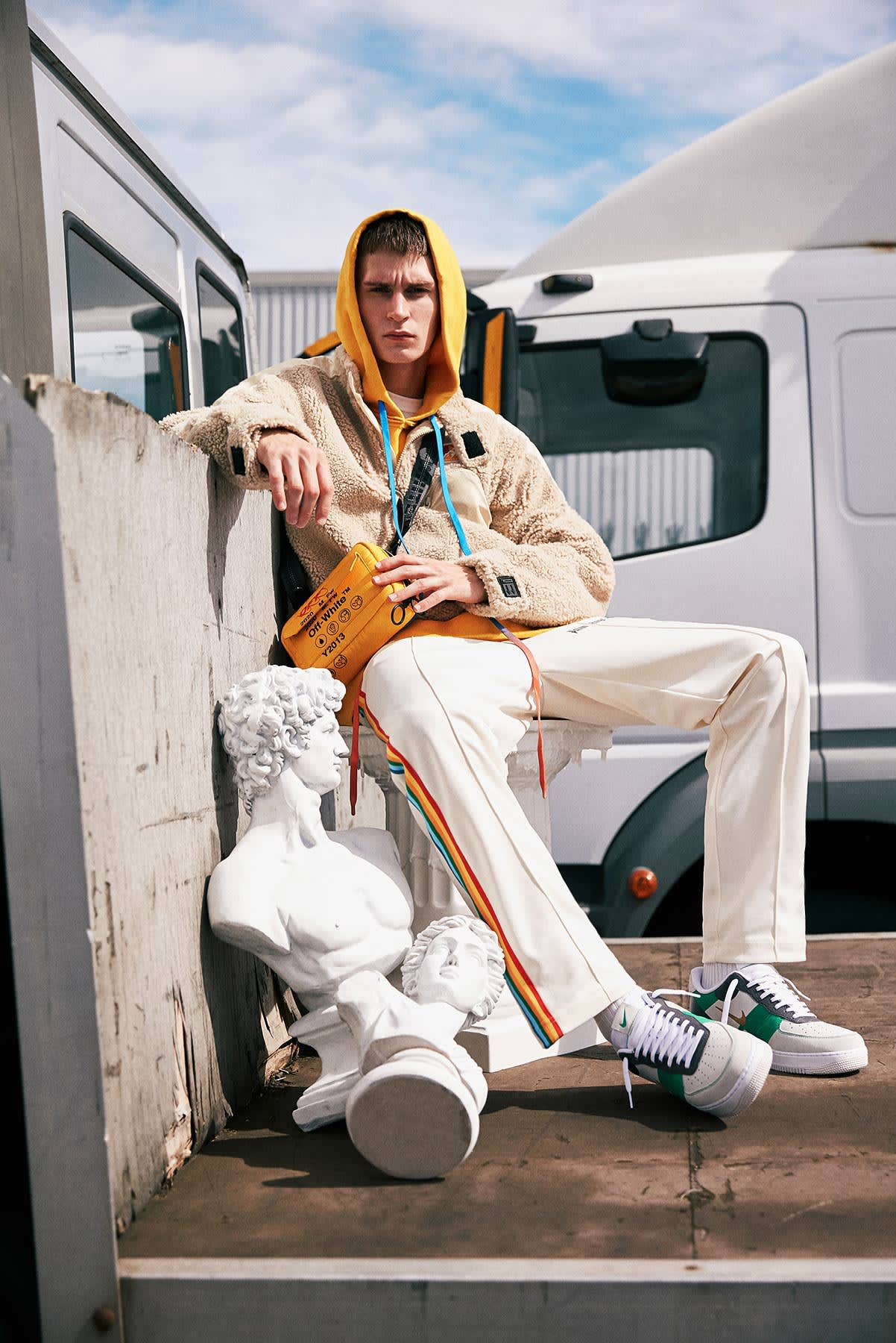 New Milan 2.0 END. AW19 Editorial .01 - Model wears Off-White and Palm Angels