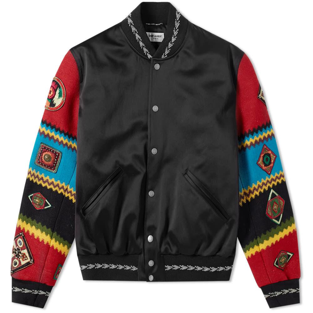 Ethnic Patch Satin Teddy Jacket